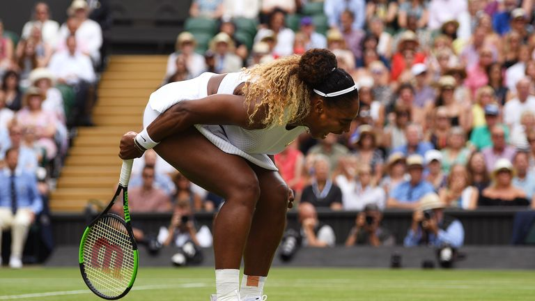 LONDON, ENGLAND - JULY 13: Serena Williams of The United States reacts in her Ladies' Singles final against Simona Halep of Romania during Day twelve of The Championships - Wimbledon 2019 at All England Lawn Tennis and Croquet Club on July 13, 2019 in London, England. (Photo by Shaun Botterill/Getty Images)