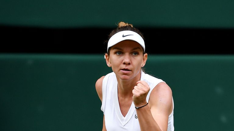 LONDON, ENGLAND - JULY 13: Simona Halep of Romania celebrates in her Ladies' Singles final against Serena Williams of The United States during Day twelve of The Championships - Wimbledon 2019 at All England Lawn Tennis and Croquet Club on July 13, 2019 in London, England. (Photo by Mike Hewitt/Getty Images)