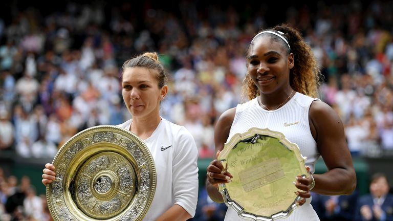 LONDON, ENGLAND - JULY 13: Simona Halep of Romania, winner and Serena Williams of The United States, runner-up pose for a photo with their respective trophies after the Ladies' Singles final during Day twelve of The Championships - Wimbledon 2019 at All England Lawn Tennis and Croquet Club on July 13, 2019 in London, England. (Photo by Shaun Botterill/Getty Images)