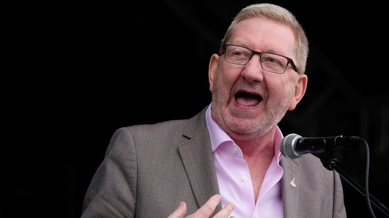 DURHAM, ENGLAND - JULY 13: Len McCluskey, leader of Unite addresses the crowd during the 135th Durham Miners Gala on July 13, 2019 in Durham, England. Over two decades after the last pit closed in the Durham coalfield the Miners Gala or Big Meeting as it is known locally remains as popular as ever with close to 200,000 people expected to attend this year. The gala forms part of the culture and heritage of the area and represents the communal values of the North East of England. The gala sees traditional colliery brass bands march through the city ahead of their respective pit banners before pausing to play outside the County Hotel building where union leaders, invited guests and dignitaries gather before they then continue to the racecourse area for a day of entertainment and speeches. Beginning in 1871 the gala is the biggest trade union event in Europe and is part of an annual celebration of socialism. This year also marks the 150th anniversary of the Durham Miners' Association. The gala is hosted by the DMA who also provide a range of services for its members, made up from former Durham miners, including compensation claims, benefit information, tribunal representation and legal advice. (Photo by Ian Forsyth/Getty Images)