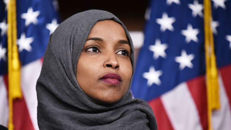 Representative-elect Ilhan Omar, D-MN, attends a press conference in the House Visitors Center at the US Capitol in Washington, DC on November 30, 2018. (Photo by MANDEL NGAN / AFP)        (Photo credit should read MANDEL NGAN/AFP/Getty Images)
