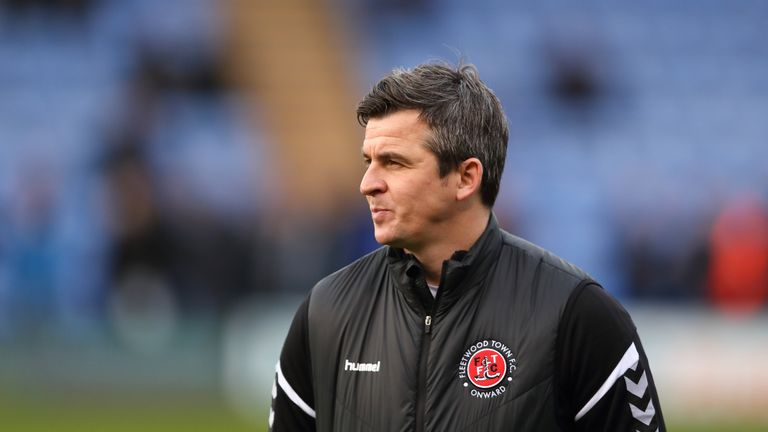 SHREWSBURY, ENGLAND - JANUARY 01: Fleetwood Town manager \ head coach Joey Barton during the Sky Bet League One match between Shrewsbury Town and Fleetwood Town at New Meadow on January 1, 2019 in Shrewsbury, United Kingdom.  (Photo by James Williamson - AMA/Getty Images)