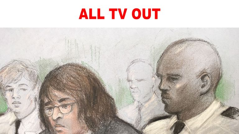 ALL TV OUT Court artist sketch by Elizabeth Cook of Kyle Davies in Gloucester Crown Court where he is accused of trying to buy a Glock pistol.