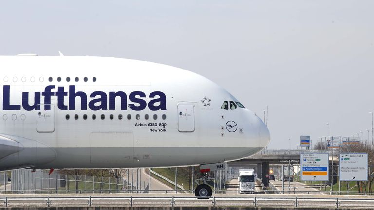 MUNICH, GERMANY - APRIL 03: A  Lufthansa Airbus A 380-800 aircraft is pictured on the taxi way at Airport Munich Franz-Josef-Strauss International on April 03, 2019 in Munich, Germany. (Photo by Alexander Hassenstein/Getty Images)