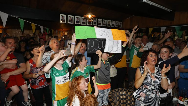Supporters at Shane Lowry's home golf club, Esker Hills Golf Club, Tullamore, Co. Offaly, celebrate his victory in The Open Championship 2019 at Royal Portrush Golf Club.