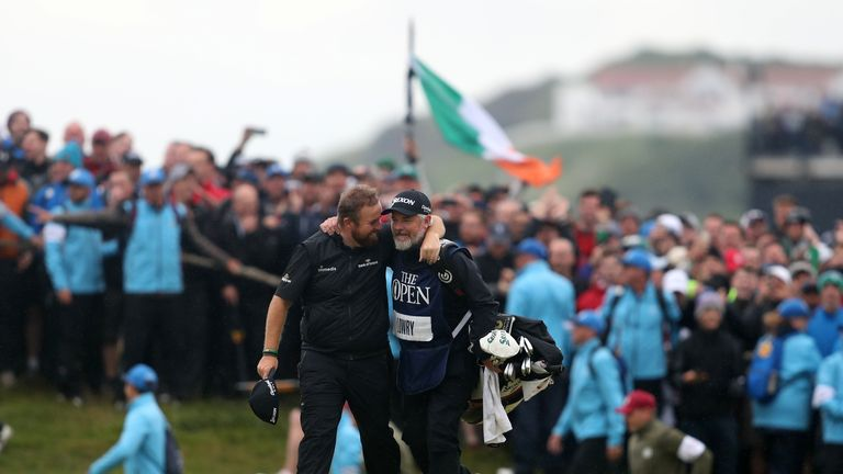 Republic of Ireland's Shane Lowry walks down the 18th after winning The Open Championship 2019 at Royal Portrush Golf Club.