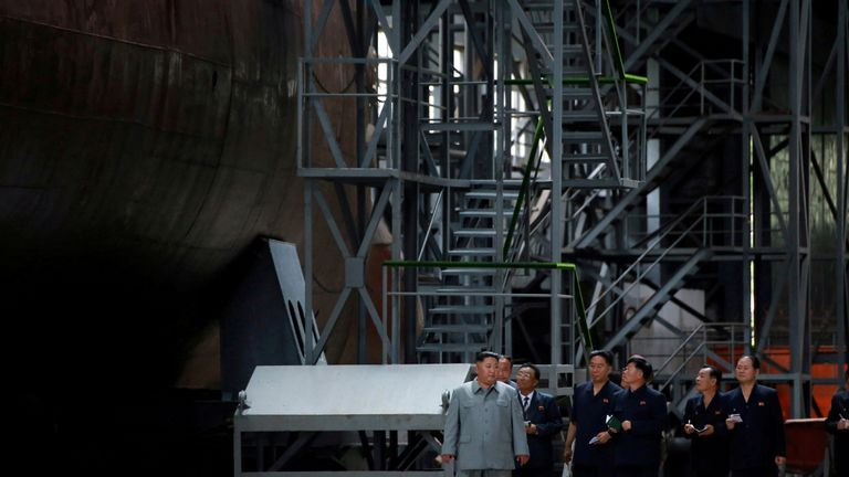 North Korean leader Kim Jong Un visits a submarine factory in an undisclosed location, North Korea, in this undated picture released by North Korea's Central News Agency (KCNA) on July 23, 2019.    KCNA via REUTERS    ATTENTION EDITORS - THIS IMAGE WAS PROVIDED BY A THIRD PARTY. REUTERS IS UNABLE TO INDEPENDENTLY VERIFY THIS IMAGE. NO THIRD PARTY SALES. SOUTH KOREA OUT. NO COMMERCIAL OR EDITORIAL SALES IN SOUTH KOREA.     TPX IMAGES OF THE DAY