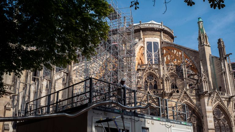 A view of Notre-Dame de Paris Cathedral during preliminary work on July 24, 2019 in Paris, three months after it was badly damaged by a huge fire last April 15. (Photo by Rafael Yaghobzadeh / various sources / AFP)        (Photo credit should read RAFAEL YAGHOBZADEH/AFP/Getty Images)