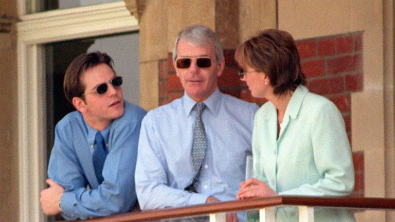 File photo dated 02/05/97 of former prime minister John Major, with his son James and Elaine Jordache, at the Oval cricket ground, south London, after the then Labour leader Tony Blair, took up the reins at 10 Downing Street following the General election.