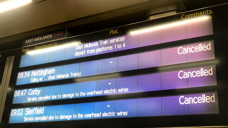 St Pancras train station in London showing cancelled trains as morning train commuters face disruption after the extreme heat caused chaos on the rail network.