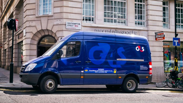 London, England - July 7, 2016: A blue G4S security van parked near Ellis Brigham Mountain Sports shop in Southampton Street, Central London, on a sunny summer day. G4S was formerly known as Group 4 Securicor.