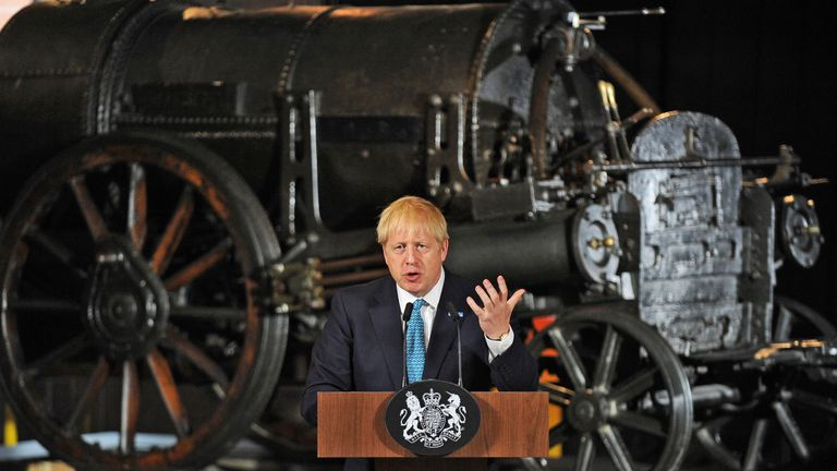 "Britain's Prime Minister Boris Johnson gestures as he gives a speech on domestic priorities at the Science and Industry Museum in Manchester, northwest England on July 27, 2019. - British Prime Minister Boris Johnson on Saturday said Brexit was a ""massive economic opportunity"" but had been treated under his predecessor Theresa May as ""an impending adverse weather event"". (Photo by Rui Vieira / various sources / AFP)        (Photo credit should read RUI VIEIRA/AFP/Getty Images)"