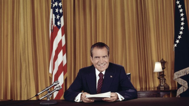 "(Original Caption) President Nixon, in a nationally televised address 8/15, asks for support against ""those who would exploit Watergate in order to keep us from doing what we were elected to do."" He also proclaimed his innocence of any complicity in the affair. Nixon posed for still photographers after the address, as no pictures were permitted during the telecast."