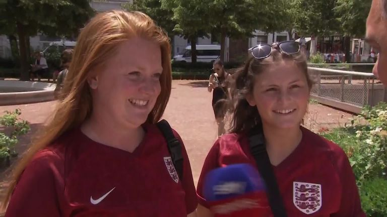 England fans are heavily outnumbered by their USA counterparts in Lyon but Sky Sports News' Geraint Hughes tracked down two Lionesses supporters