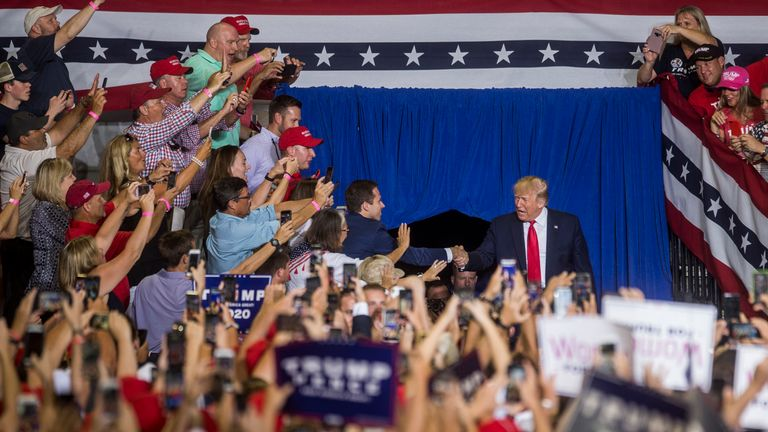 Donald Trump at a rally in Greenville, North Carolina