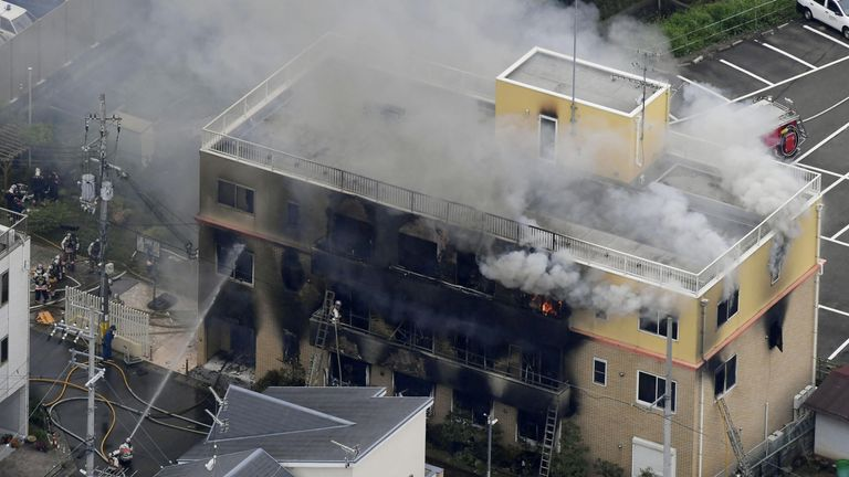 At least 23 feared dead in suspected arson attack on animation studio