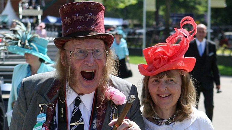 John McCririck with his wife Jenny at Royal Ascot in 2009