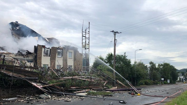 A Premier Inn hotel has partially collapsed during a massive fire
