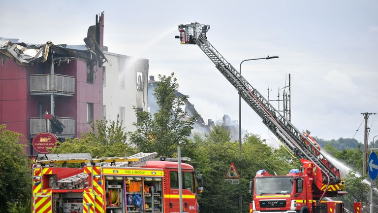 A Premier Inn hotel in Bristol has partially collapsed during a huge fire