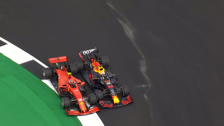 Watch some unbelievable racing between Charles Leclerc and Max Verstappen in the British GP