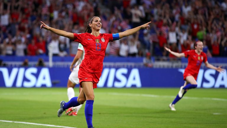 The USA's Alex Morgan celebrates scoring her team's second goal