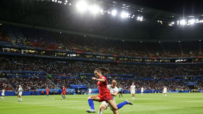 Alex Morgan of USA controls the ball during the 2019 FIFA Women's World Cup France Semi Final match between England and USA at Stade de Lyon on July 02, 2019 in Lyon, France