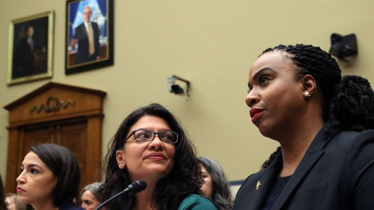 From left: Alexandria Ocasio-Cortez, Rashida Tlaib and Ayanna Pressley are likely to be three of those targeted in Mr Trump's tweets
