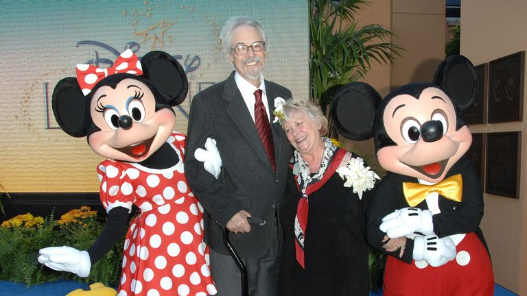 Minnie Mouse, the voice of Mickey Mouse Wayne Allwine, the voice of Minnie Mouse (also Mr. Allwine's wife) Russi Taylor and Disney charactor Mickey Mouse attend the 2008 Disney Legends Ceremony at the Walt Disney Studios on October 13, 2008 in Burbank, California