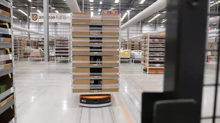 Inside Amazon's fulfilment centre on the outskirts of Doncaster in Yorkshire