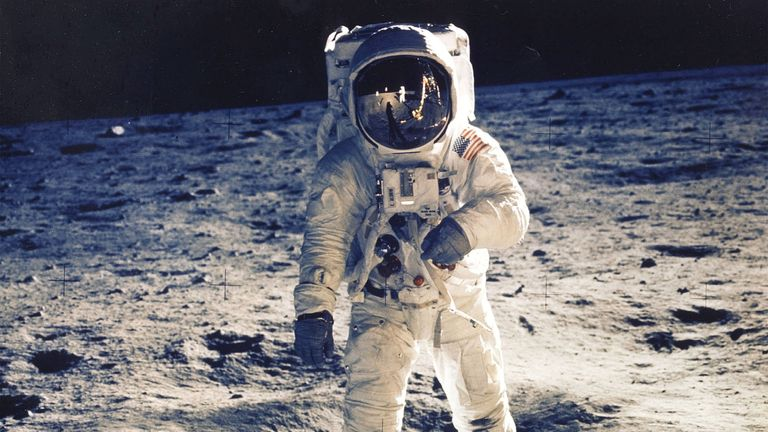 """30Th Anniversary Of Apollo 11 Landing On The Moon (9 Of 20): Astronaut Edwin E. Aldrin Jr., Lunar Module Pilot, Is Photographed Walking Near The Lunar Module During The Apollo 11 Extravehicular Activity. Man's First Landing On The Moon Occurred Today At 4:17 P.M. July 20, 1969 As Lunar Module """"Eagle"""" Touched Down Gently On The Sea Of Tranquility On The East Side Of The Moon. The Lm (Lunar Module) Landed On The Moon On July 20, 1969 And Returned To The Command Module On July 21. The Command Modul"""