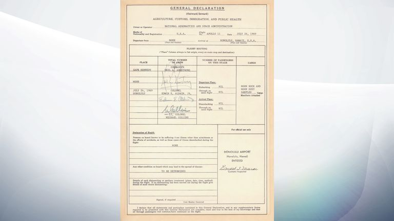 The Apollo 11 astronauts had to sign a customs declaration. Pic: NASA