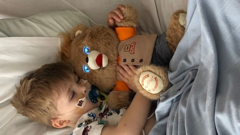 Artie Vickerage, three, has been diagnosed with Birketts Lymphoma