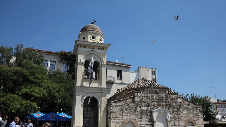 Damage on the bell tower of Church of the Pantanassa at the Monastiraki Square following an earthquake in Athens, Greece
