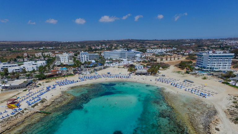 Aerial view of Sandy Bay on April 29, 2016 in Ayia Napa, Cyprus. Sandy Bay has fine white sands and gently shelving waters