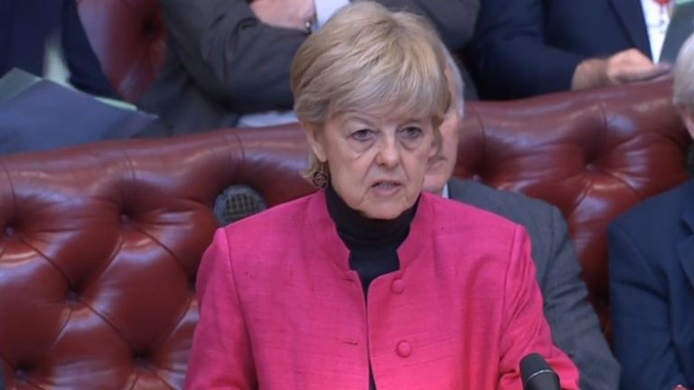Baroness Hayter of Kentish Town speaking in the House of Lords during the debate on the Commons motion passed Wednesday which sought to ensure there was a legal requirement on the Prime Minister to seek an extension to Article 50 to prevent a no-deal over Brexit.