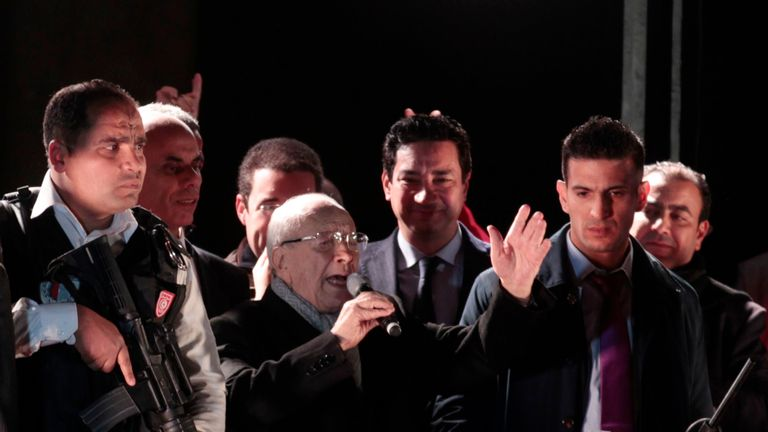 Beji Caid Essebsi speaks after claiming victory in the 2014 presidential election