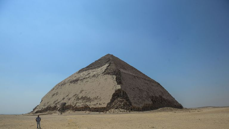 A picture taken on July 13, 2019 shows the Bent pyramid of King Sneferu, the first pharaoh of Egypt's 4th dynasty, in the ancient royal necropolis of Dahshur on the west bank of the Nile River, south of the capital Cairo