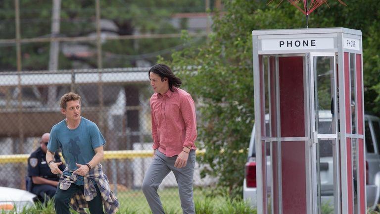 Keanu Reeves and Alex Winter on set. Pic: MiamiPIXX/ sbmf/ Lynx / BACKGRID