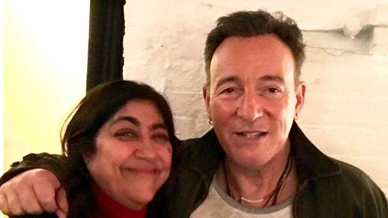 Blinded By The Light director Gurinder Chadha with Bruce Springsteen