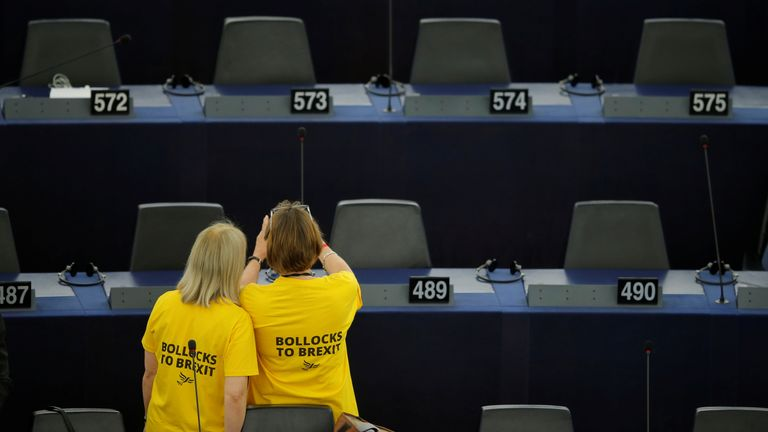 Lib Dem MEPs stage an anti-Brexit demonstration in the European Parliament