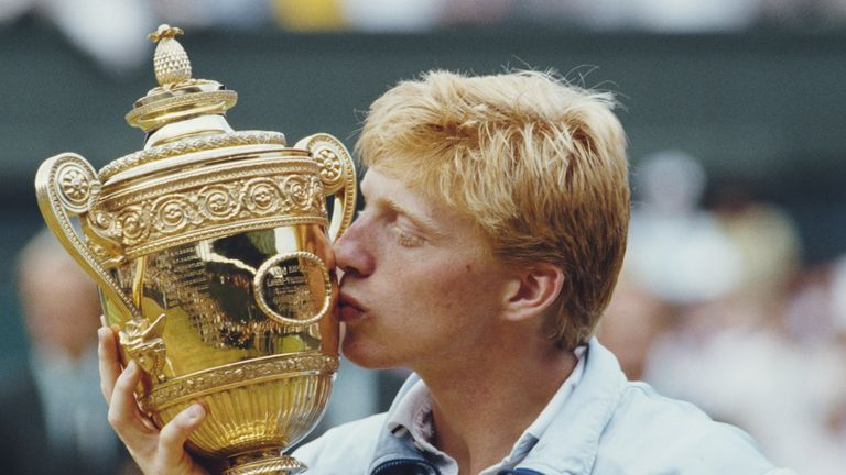 Boris Becker celebrating his first Wimbledon title in 1985