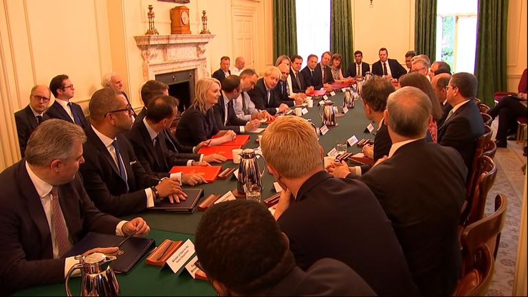 "New PM Boris Johnson repeats ""no ifs, not buts"" pledge on Brexit by 31 October as he holds first cabinet meeting"