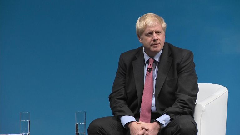 Tory leadership favourite Boris Johnson was heckled during a hustings, during a question over Sir Kim Darroch's resignation