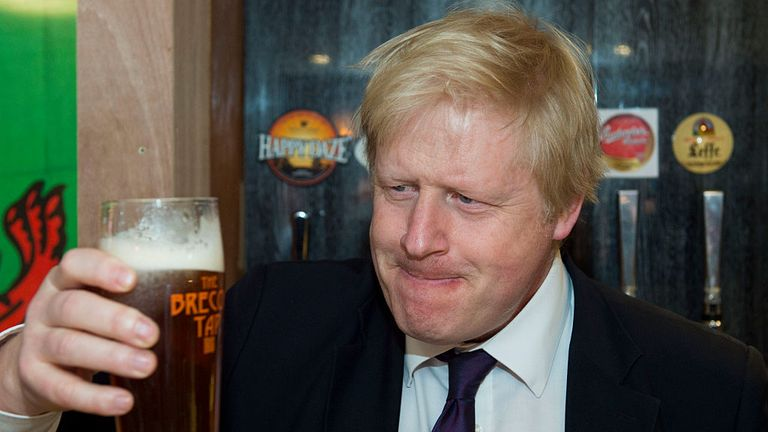 BRECON, WALES - APRIL 05: Boris Johnson drinks a beer in bar Brecon Tap on April 5, 2016 in Brecon, Wales. The Mayor of London Boris Johnson is in south Wales for a day of campaigning, showing support for key seats where the Conservative Party hopes to do well in the National Assembly elections on May 5. (Photo by Matthew Horwood/Getty Images)