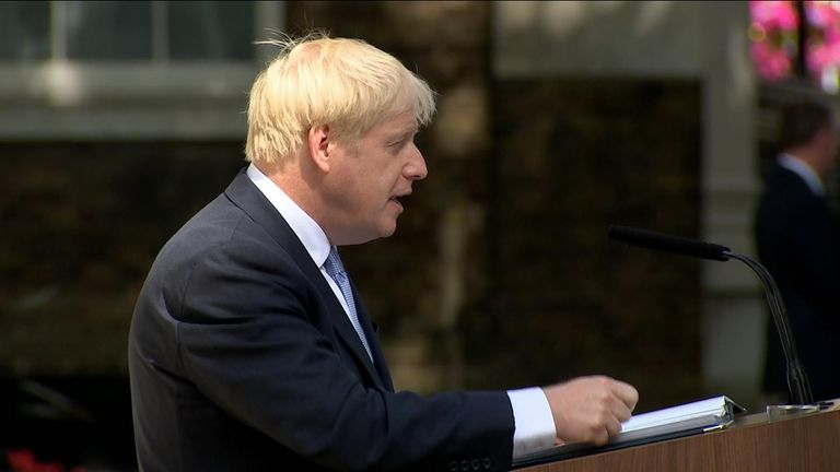 Boris Johnson addresses reporters outside 10 Downing Street