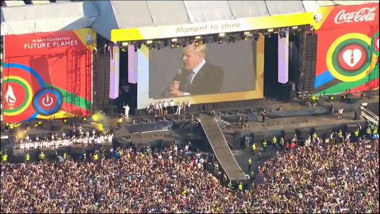 It was a big year for London, and here is Mr Johnson addressing a huge crowd at the 2012 Olympic torch relay concert in Hyde Park
