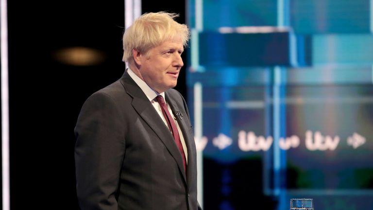 Boris Johnson takes part in ITV's Conservative leadership debate