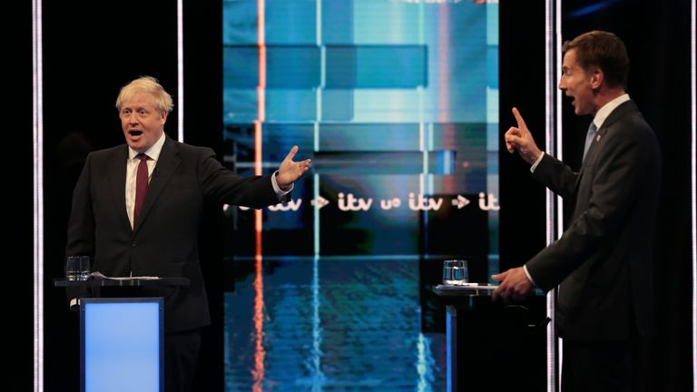 Boris Johnson and Jeremy Hunt in TV debate