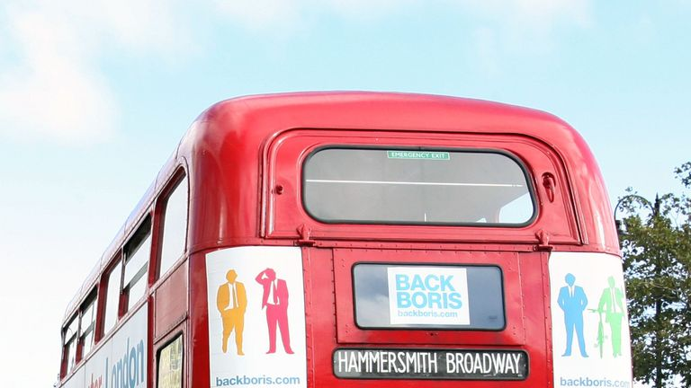 Never shy of a bus-based photo op, here is Mr Johnson after being named the Tory candidate for next year's London mayoral contest