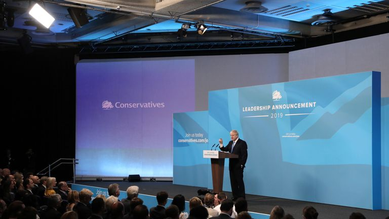 Newly elected British Prime Minister Boris Johnson speaks during the Conservative Leadership announcement